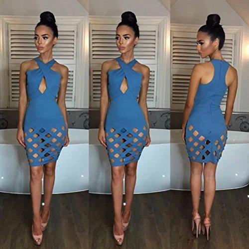 lápiz vestido noche Mini Bodycon M fiesta azul Womens Slim Broadroot cóctel TWgc6qA1Yw