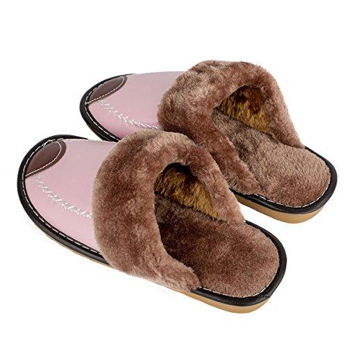 Haisum 8831-w - Zapatillas de estar por casa de Piel Sintética para mujer Rosa