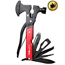 Toptool 14 in 1 Pocket Hammer-axe Multitool with Plier, Knife, Can Opener, Screwdriver & More (red)