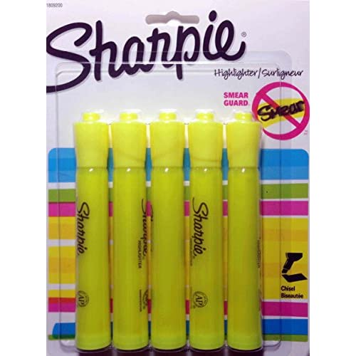 Sharpie Accent Highlighter Tank Style Chisel Tip Fluorescent Yellow, Pack of 5 (1809200)