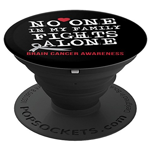 Brain Cancer Awareness Month Grey Ribbon Warrior Gift - PopSockets Grip and Stand for Phones and Tablets