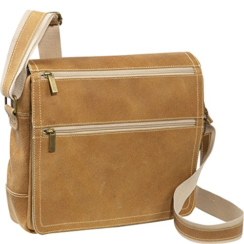 David King & Co Distressed Flap Leather Messenger Bag in Tan