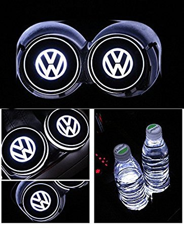 Sunauto Car Logo LED Cup Pad led cup coaster USB Charging Mat Luminescent Cup Pad LED Mat Interior Atmosphere Lamp Decoration Light (Volkswagen)