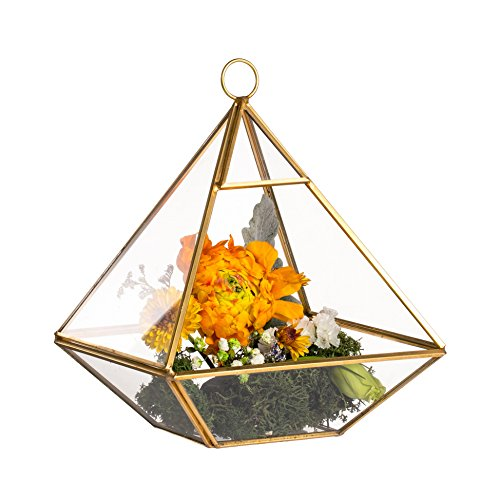 (NCYP Brass Hanging Copper Gold Pyramid Geometric Glass Terrarium Centerpiece Candle Holder Lantern for Wedding Party Wall Mount Decoration Ornament)