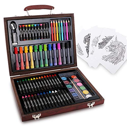 HiArt 82 Piece Kid Art Set Wooden Case Art Supplies for Painting Drawing Art Case for Beginner -