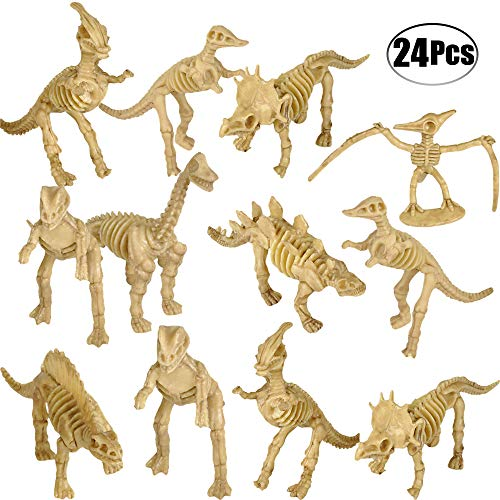 Bedwina Dinosaur Fossil Skeleton (24 Pieces) Assorted Figures Dino Bones, 3.7 Inch - for Science Play, Dino Sand Dig, Party Favor & Decorations