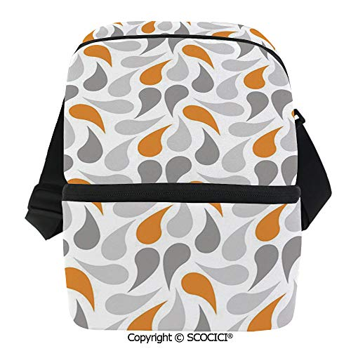 (SCOCICI Collapsible Cooler Bag Oriental Asian Cultures Motif Traditional Teardrop Pattern Vintage Palette Insulated Soft Lunch Leakproof Cooler Bag for Camping,Picnic,BBQ)