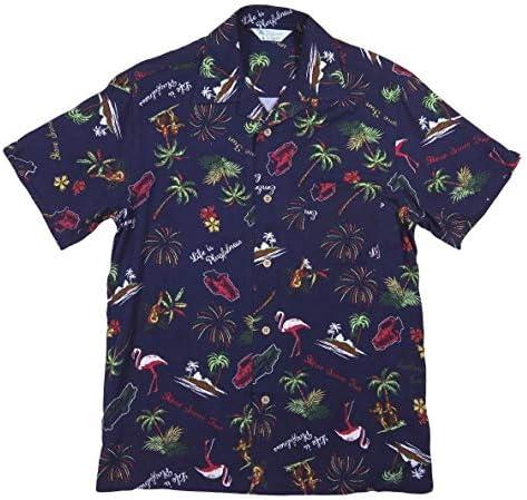 フラミンゴ フラガール 半袖 レーヨン100% アロハシャツ