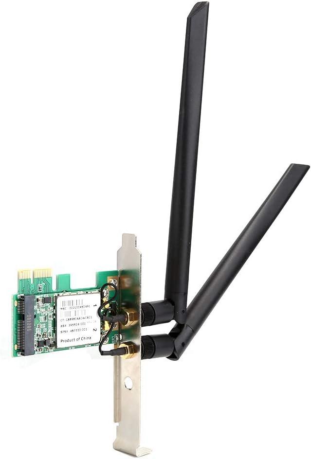 Richer-R Mini pci-e Network Card,Wireless Network Card Desktop Ethernet Computer Accessories,2.4G/5G Dual‑Band BCM94322MC Wireless Network Adapter for Win xp/ Win7/ Win8/ Win10/ OS X/Hackintosh