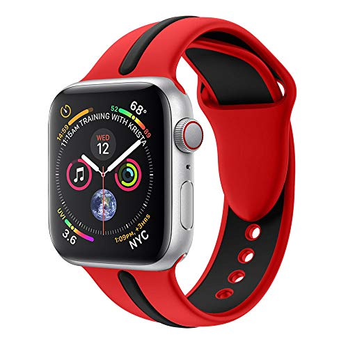 (BabiQ for Apple Watch Series 4 Adjustable Sports Strap Replacement Soft Silicone Watch Band Wirst Strap (Red, 44MM))