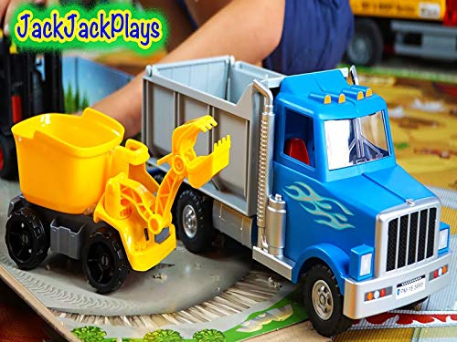 Playing With Toy Trucks Dump Truck, Kinetic Rock Crusher, Forklift