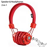 GranVela X5sp 2-in-1 Bluetooth Headphones with Bluetooth Speakers,Multifunction Headset with Microphone,Micro SD Card/TF Card Player,FM Radio,APP, and Sharing Port (Red)