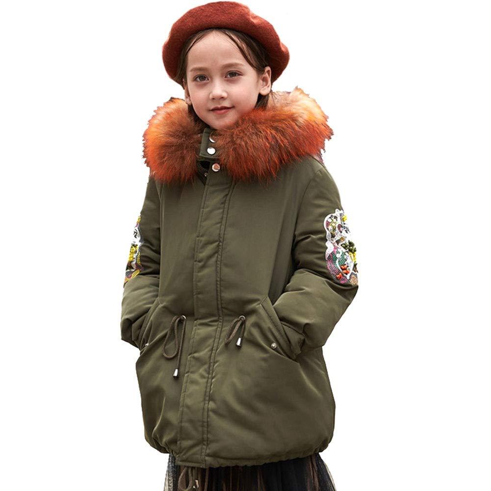 vert 120cm RSTJ-Sjc Style décontracté pour Les Filles à Capuche avec col en Fourrure Version coréenne Conception Enfants Outwear, Manteau d'hiver idéal pour Enfants