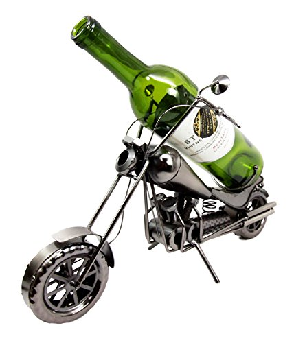 """Atlantic Collectibles Chopper Motorcycle Bike Hand Made Metal Wine Bottle Holder Caddy Decor Figurine 16""""H"""