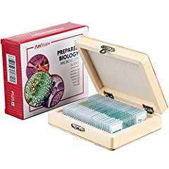 The AmScope PS25 microscope slide set includes 25 prepared slides of a variety of specimens including plants, insects, and animal tissues used in basic biology education. The samples are preserved in cedar wood oil and sealed ...