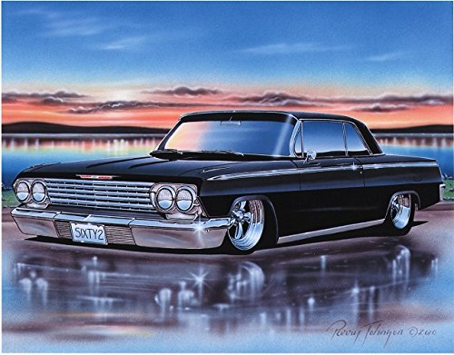 1962 Chevy Impala 2 Door Hardtop Classic Car Art Print 11x14 Black (1962 Hardtop)
