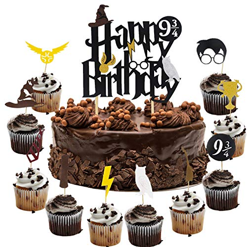 Harry Potter Cake Decorating - Harry Potter Inspired Happy Birthday Cake Topper and Cupcake Toppers Cake Decorations Set