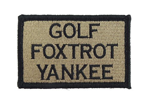 Golf Foxtrot Yankee Hook and Loop Tactical Funny Morale Patch (Coyote and Black)