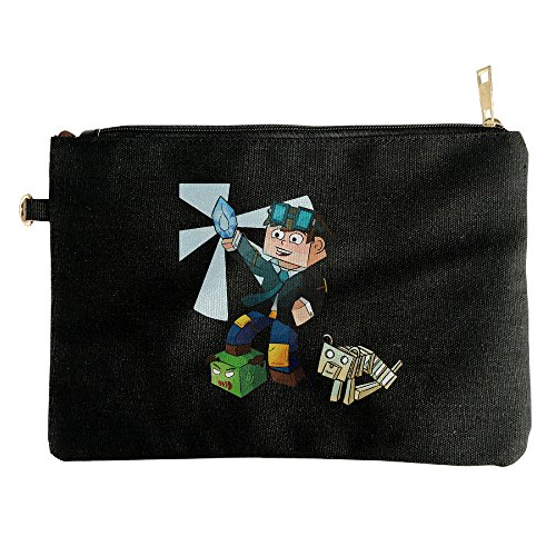 TDM DAN DIAMOND MINECART Canvas Zipper Pouch Pencil Case, Make Up Bag, Cell Phone Bag, Travel Toiletry Organizing