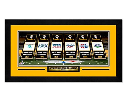 Steelers Photo Framed Pittsburgh (6 Time Super Bowl Champion Pittsburgh Steelers 7x13 Framed Sports Photo)