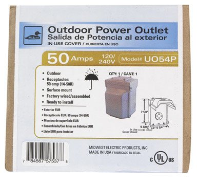 GE Energy Industrial Solutions U054P Midwest Electric Outdoor Raintite Receptacle Enclosure, 120/240V, 50-Amp