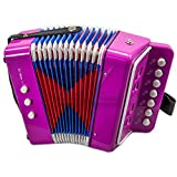 SKY Accordion Hot Pink Color 7 Button 2 Bass Kid Music Instrument Easy to Play