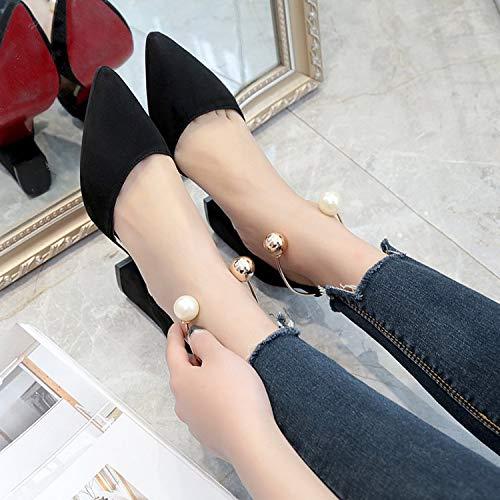 Yukun zapatos de tacón alto Zapatos De Las Señoras del Alto Talón De La Manera Solos Gruesos con Los Zapatos Acentuados Salvajes Tacones Altos De La Manera Black