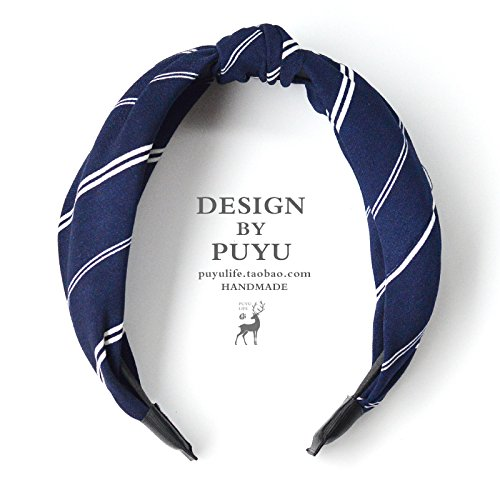 Pak Navy Blue Diagonal Stripes case Simple Sen Women Girls line wash Cloth Hair Bands Hair Accessories Headdress New