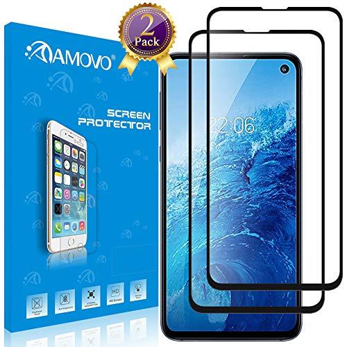 Galaxy S10E Screen Protector [Full Coverage] AMOVO 3D Full Tempered Glass for Samsung Galaxy S10E (5.8'') [Anti Edge Chipping] Premium HD 0.20mm Anti Scratch Glass Protector for Galaxy S10E (2Pack