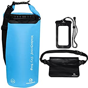 Freegrace Waterproof Dry Bags Set of 3 Dry Bag with 2 Zip Lock Seals & Detachable Shoulder Strap, Waist Pouch & Phone Case - Can Be Submerged Into Water (Sky Blue, 20L)