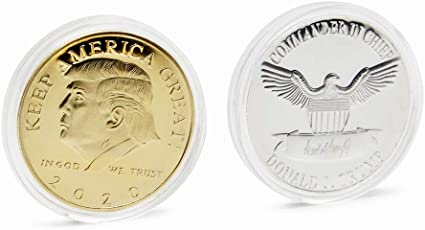 2Pcs 2021 President Donald Trump Gold Plated Commemorative Coin KeepAmericaGreat