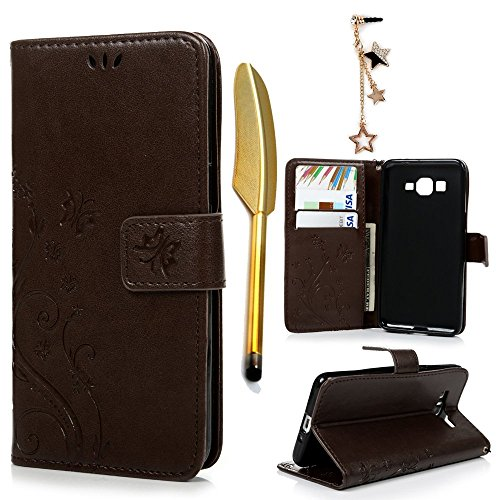 Galaxy Grand Prime G5308/G530H Case- MOLLYCOOCLE?Stand Wallet ID Holders Emboss Vintage Flower Flip Folio TPU Soft Bumper PU Leather Skin Cover for Samsung Galaxy Grand Prime G5308/G530H -Brown