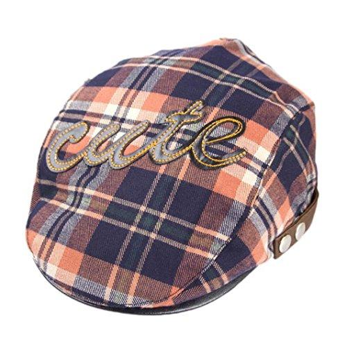 - Voberry Baby Boy Kids Toddler Plaid Beret Cabbie Flat Peaked Hat River Cap (C)