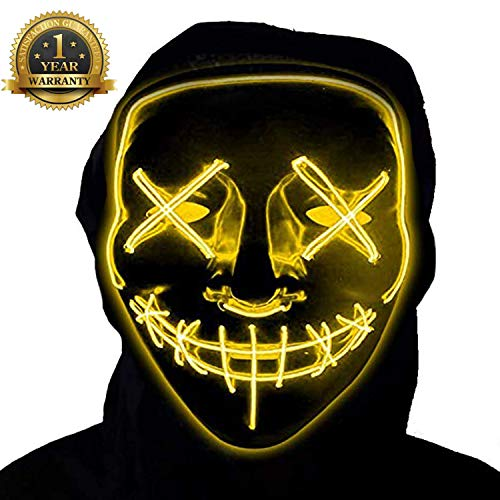 LED Purge Mask Halloween Scary Mask Cosplay Light Up Mask for Adult and Children Yellow