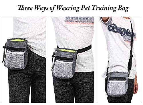 Dog Treat Pouch,Training Bag with Adjustable Waist Belt Shoulder Strap,Carry Pet Toys,Phone,Poop Bag,Dry Bag Sack-3 Ways To Wear -Black by Machao (Image #8)
