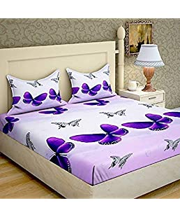 STARnSTYLE buterfly Printed 3D 140 TC Double bedsheet with 2 Pillow Cover,Double bedsheets with 2 Pillow Covers Cotton,bedsheets for Double Bed,Bed Sheets Cotton,Cotton Double bedsheet