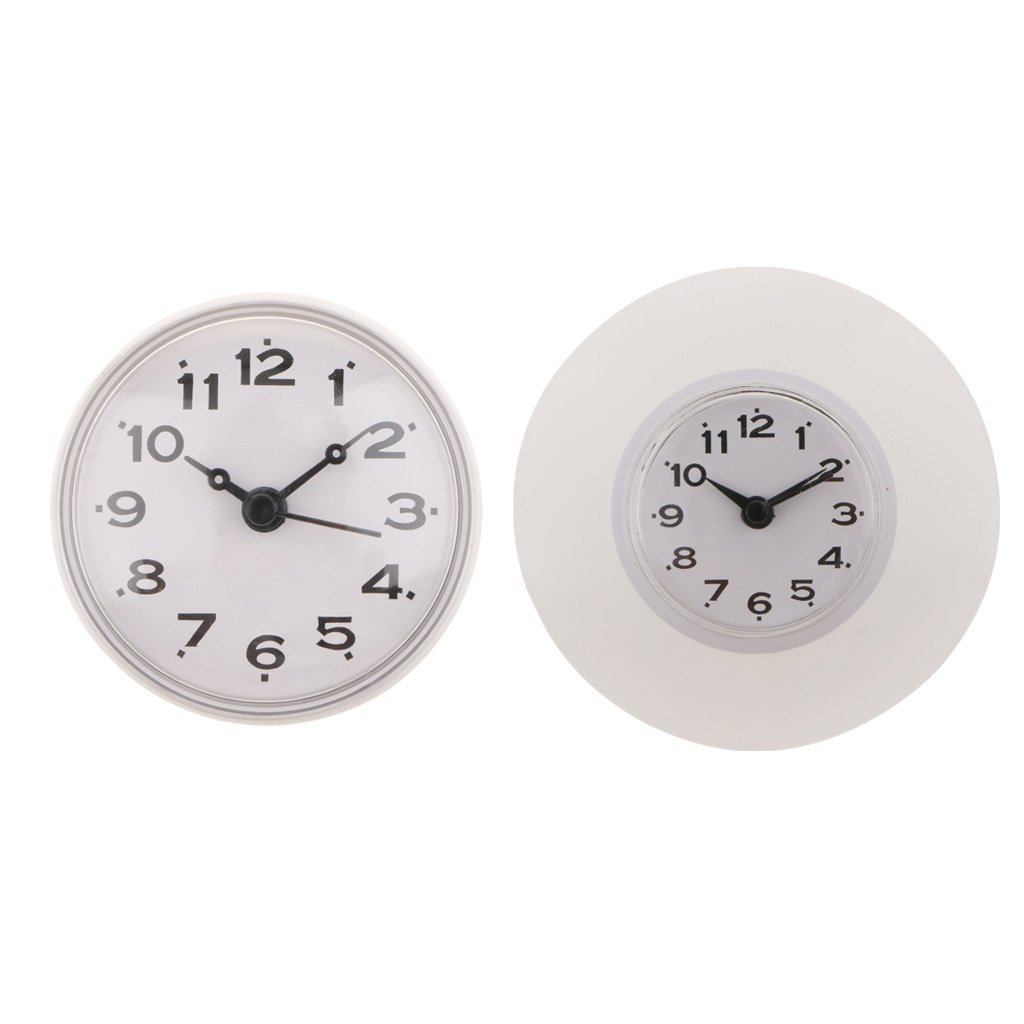Blesiya 2x Silicone Waterproof Clock Mirror Window Glass Suction Clock for Bathroom Kitchen Dormitory Hotel