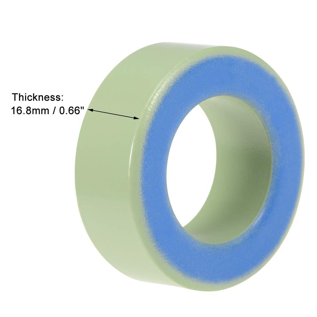 14 x 27.3 x 14.8mm Ferrite Chokes Ring Iron Powder Inductor Ferrite Rings Yellow White 10pcs sourcing map Toroid Core