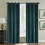 Cheap Luxury Velvet Mossy Green Set of 2 Blackout Drapes Room Darkening Curtains Panel Grommet Drapery 50 by 96-Inch (2 panels) Custom Size Available