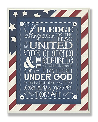 (The Kids Room by Stupell Pledge Of Allegiance With American Flag Background Rectangle Wall Plaque, 11 x 0.5 x 15, Proudly Made in USA)