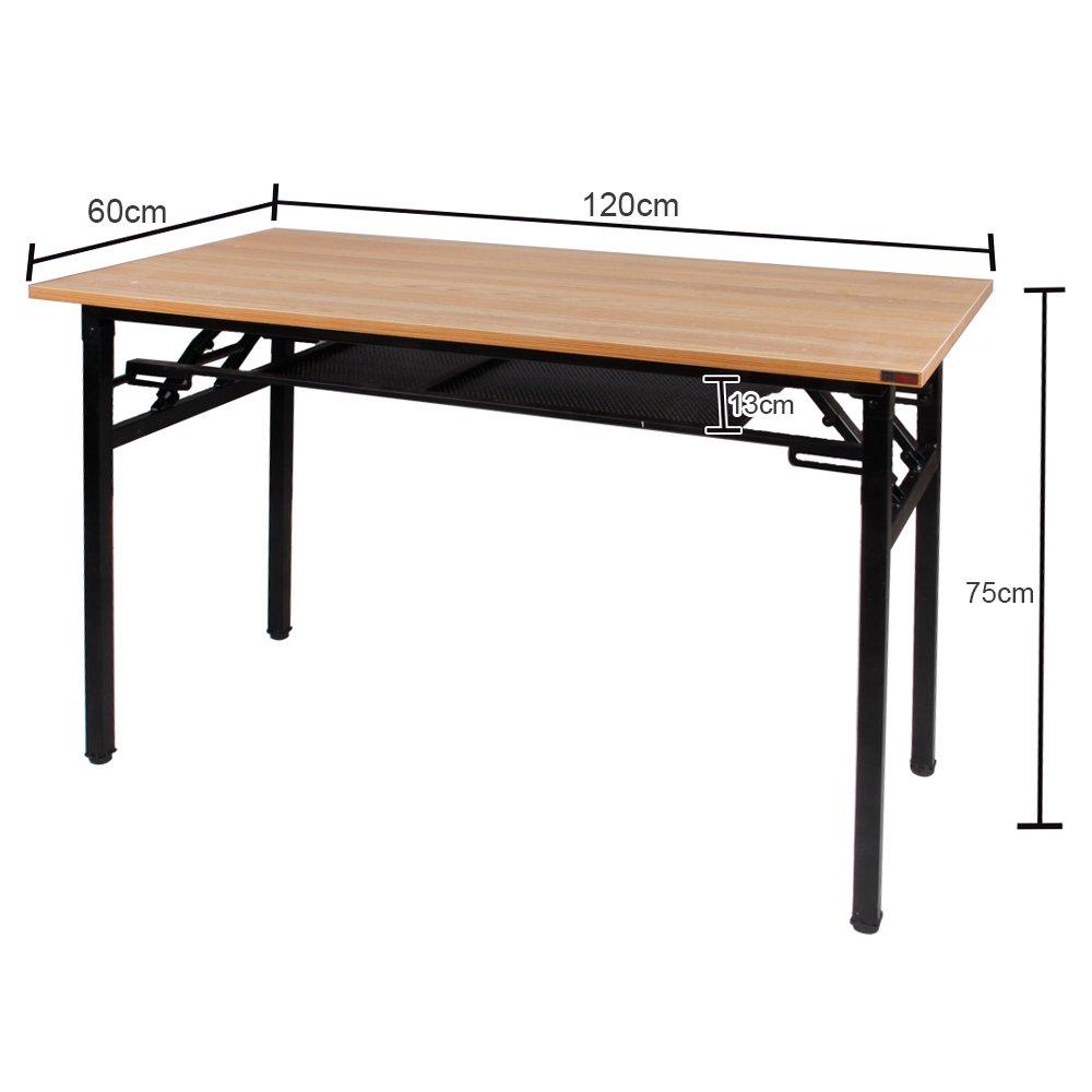 Table d/'/étude Postes de Travail Pliable pour Maison Bureau Noir BHEU-AC7CB sogesfurniture Bureau Informatique Pliable 120x60 cm Table Pliante dordinateur avec Couche de Stockage