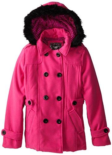 YMI Big Girls' Seasonal Wool Hooded Pea Coat, Fuchsia, 16