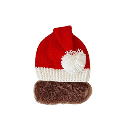 8fb1e81b504cc Amazon.com  BESTOYARD Fashion Santa Claus Cap Red Knitted Hat Funny Adult  Beard Hats Christmas Ornaments for Xmas Party New Year Decoration Cosplay  (Brown)  ...