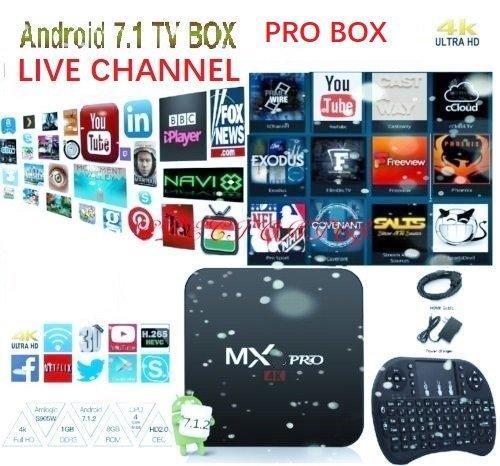 [2018 New Arrive] Pro Box Latest plugin use USA version KD 17.6 Android 7.1 MX PRO TV Box Streaming Media Player 4K /64Bit/3D with mini keyboard