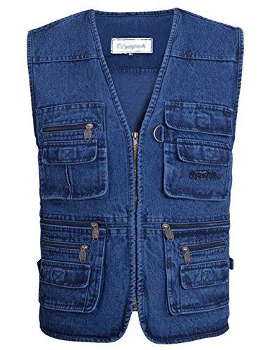 (Gihuo Men's Casual Outdoor Leisure Lightweight Pockets Fishing Photo Journalist Denim Vest Plus Size (L, Denim))