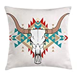 Western Throw Pillow Cushion Cover, Bull Skull Illustration with Ethnic Ornament Tribal Geometric Aztec Style, Decorative Square Accent Pillow Case, 18 X 18 inches, Warm Taupe Red Blue