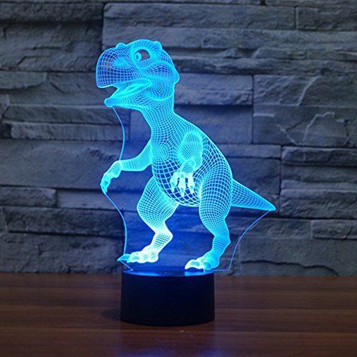 Dinosaur 3D Night Light Touch Activated Desk Lamp, Ticent 7 Colors 3D Optical Illusion Lights with Acrylic Flat, ABS Base & USB Charger for Christmas Kids Gifts Gifts For Kids