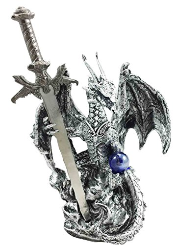 Legendary Silver Dragon Carrying Orb And Excalibur Sword Letter Opener Figurine ()