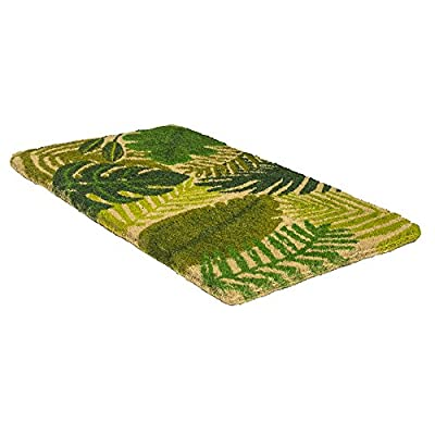 """Entryways Tropical Leaves, Hand-Stenciled, All-Natural Coconut Fiber Coir Doormat, 18"""" X 30"""" X .75"""""""