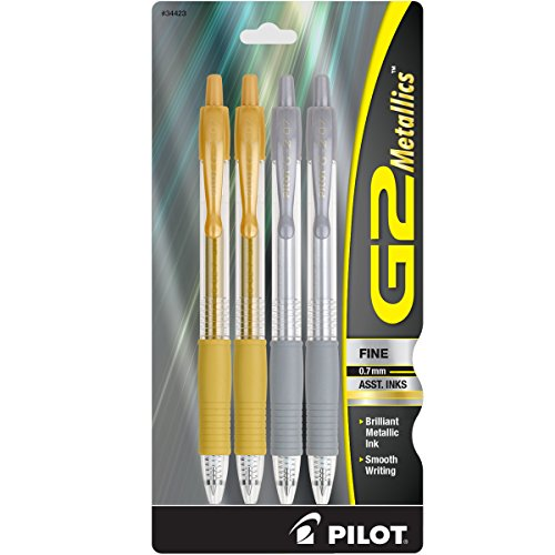 Pilot G2 Metallics Gel Roller Pens Fine Point (.7 mm) Gold/Silver Inks 4-Pack (34423) 2 Silver and 2 Gold Gel Pens, Retractable, Refillable & Premium Comfort Grip, Smooth Lines to the End of Page ()